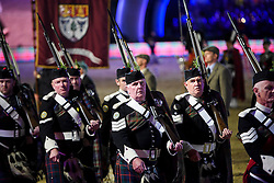 © Licensed to London News Pictures. 15/05/2016. Windsor, UK.  Scottish guards. An evening event held at the Royal Windsor Horse show to celebrate the 90th birthday of HRH Queen Elizabeth II. Acts from arounds the world have been invited to perform at the evening event, set in the grounds of Windsor Castle. Photo credit: Ben Cawthra/LNP