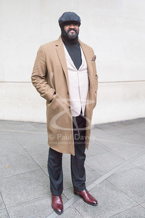 London, December 03 2017. US singer Gregory Porter leaves the Andrew Marr Show at the BBC's New Broadcasting House in London.. © Paul Davey