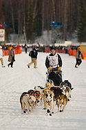 05 March 2006: Willow, Alaska - Tollef Monson heads out for Nome at the restart of the 2006 Iditarod on Willow Lake in Willow, Alaska