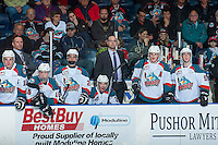 KELOWNA, CANADA - JANUARY 4: Assistant coach, Kris Mallette stands on the bench against the Spokane Chiefs on January 4, 2017 at Prospera Place in Kelowna, British Columbia, Canada.  (Photo by Marissa Baecker/Shoot the Breeze)  *** Local Caption ***