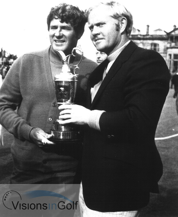 Doug Sanders and Jack Nicklaus with the claret jug trophy at the Open Championship in 1970<br /> Picture Credit: &copy;Visions In Golf / Hobbs Golf Collection