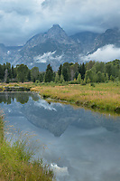 Clearing storm clouds at Schwabacher Landing Grand Teton National Park Wyoming