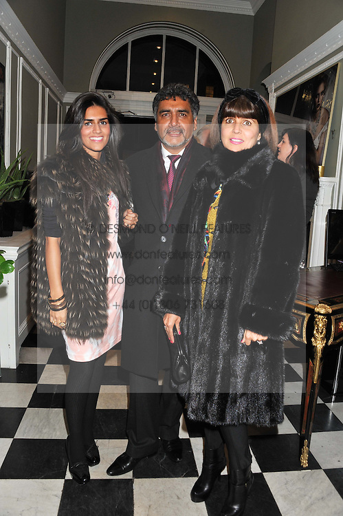Left to rigjt, HANNAH CAAN, JAMES CAAN and AISHA CAAN at a champagne reception to launch The Big Egg Hunt presented by Faberge in aid of the charities Action for Children and Elephant Family held at 29 Portland Place, London on 18th January 2012.