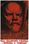 Under the Flag of Lenin, March to Victory', 1941. Soviet propaganda poster by A. Volochin.  Soviet Russia USSR Communism Communist World War II