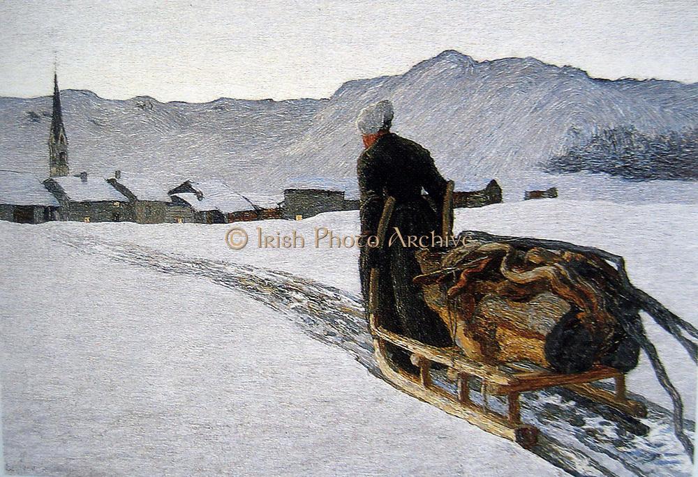 Giovanni Segantini (1858 - 1899), Italian painter. 'return from the forest'  189o