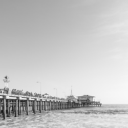 Santa Monica Pier Southern California vertical black and white photo. Santa Monica is a coastal city along the Pacific Ocean in the United States. Copyright ⓒ 2017 Paul Velgos with All Rights Reserved.