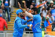 Wicket - Jasprit Bumrah of India celebrates taking the wicket of Mosaddek Hossain of Bangladesh during the ICC Cricket World Cup 2019 match between Bangladesh and India at Edgbaston, Birmingham, United Kingdom on 2 July 2019.