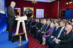 The Duke of York (left) welcomes his mother Queen Elizabeth II and the attendees during a speech at the opening of Pitch@Palace 6.0, an initiative set up by the Duke of York to guide, help and connect entrepreneurs with potential supporters, including CEOs, influencers, mentors, and business partners, in order to accelerate and amplify their businesses, at St James's Palace in London.