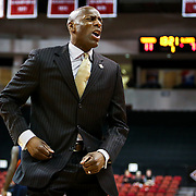 Head Coach Joe Jones of the Boston University Terriers reacts to a play during the NIT First Round game at Agganis Arena on March 19, 2014 in Boston, Massachusetts . (Photo by Elan Kawesch)