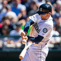 SEATTLE, WASHINGTON - JULY 14, 2013: Brad Miller (5) shatters his bat on a pitch against the Anaheim Angels at Safeco Field in Seattle, WA.  (Photo by Christopher Mast/Grand Salami Magazine)