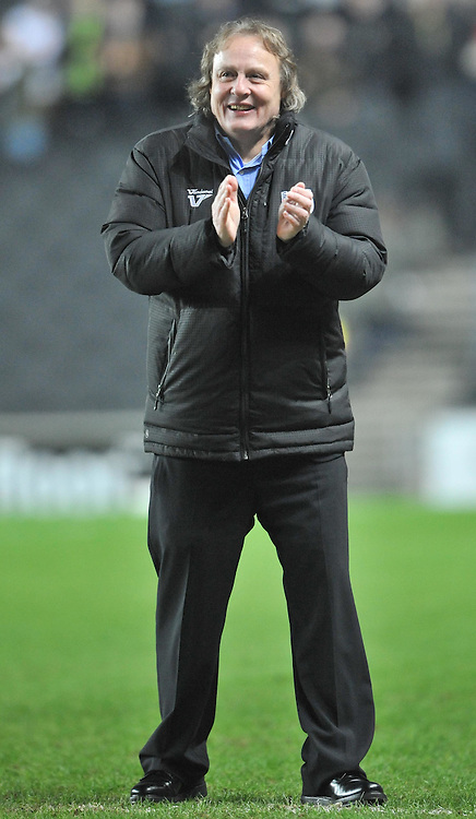 MK CHAIRMAN PETE WINKLEMAN APPLAUDS HIS PLAYERS ON THE FINAL WHISTLE, MK Dons v Northampton Town, FA Cup Emirates FA Cup Third round Repay, Stadium MK, Tuesday 19th January 2016
