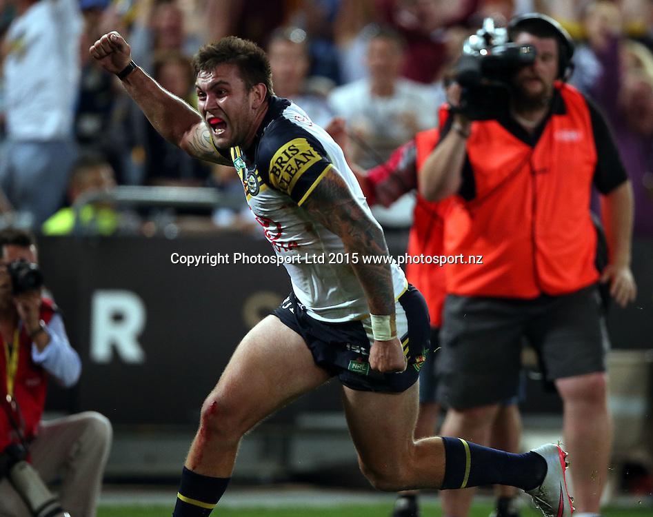 Kyle Feldt scores the try<br /> Broncos v Cowboys NRL Grand Final rugby league match at ANZ Stadium, Homebush Australia. Sunday 4 October 2015. Photo: Paul Seiser/Photosport.nz