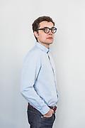 Paris, May 16 2019 - Portrait of graphic designer Alexandre Dimos, founder and partner at deValence studio.