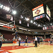 Members of the  the Illinois Fighting Illini warm up prior to the NIT First Round game at Agganis Arena on March 19, 2014 in Boston, Massachusetts . (Photo by Elan Kawesch)