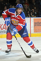 KELOWNA, CANADA - FEBRUARY 15:  Ashton Sautner #5 of the Edmonton Oil Kings skates with the puck against the Kelowna Rockets on February 15, 2012 at Prospera Place in Kelowna, British Columbia, Canada (Photo by Marissa Baecker/Getty Images) *** Local Caption *** Ashton Sautner;
