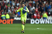 Nottingham Forest goalkeeper Jordan Smith (43) punches the air after the Reds won 3-1 during the EFL Sky Bet Championship match between Nottingham Forest and Reading at the City Ground, Nottingham, England on 22 April 2017. Photo by Jon Hobley.