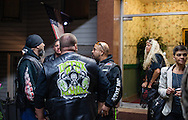 A wake for Michael Golden, a member of the 69ers Bike Club  at Joseph P. Duffy Funeral Home in Park Slope, Brooklyn.