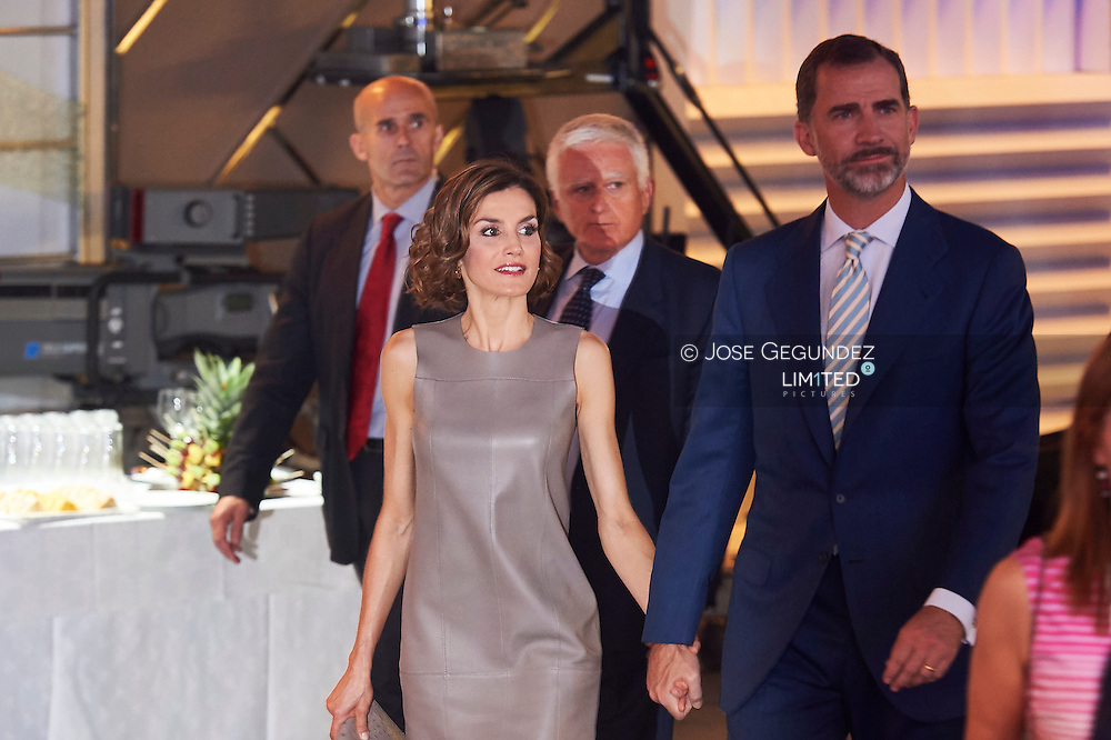 King Felipe VI of Spain and Queen Letizia of Spain visit Telecinco TV Studios for their 25 anniversary on July 9, 2015 in Madrid