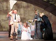Three Sisters <br /> by Anton Chekhov<br /> Sovremennik Theatre <br /> at Piccadilly Theatre, London, Great Britain <br /> Press photocall / rehearsal <br /> 11th May 2017 <br /> <br /> Olga Drozdova as Olga <br /> <br /> Alyona Babenko as Masha <br /> <br /> Victoria Romanenko as Irina <br /> <br /> Anatoly Uzdensky as Ivan Romanovich Chebutykin <br /> <br /> Shamil Khamatov and Ilya Drevnov as Soldiers <br /> <br /> <br /> Photograph by Elliott Franks <br /> Image licensed to Elliott Franks Photography Services