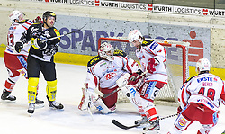 11.01.2013, Messestadion, Dornbirn, AUT, EBEL, Dornbirner EC vs EC KAC, 40. Runde, im Bild Jakob Andrew Kozek, (Dornbirner EC, #10), Andy Chiodo, (EC KAC, #31) und Martin Schumnig, (EC KAC, #28)// during the Erste Bank Icehockey League 40th round match between Dornbirner EC and EC KAC the Exhibition Stadium, Dornbirn, Austria on 2013/01/11, EXPA Pictures © 2013, PhotoCredit: EXPA/ Peter Rinderer