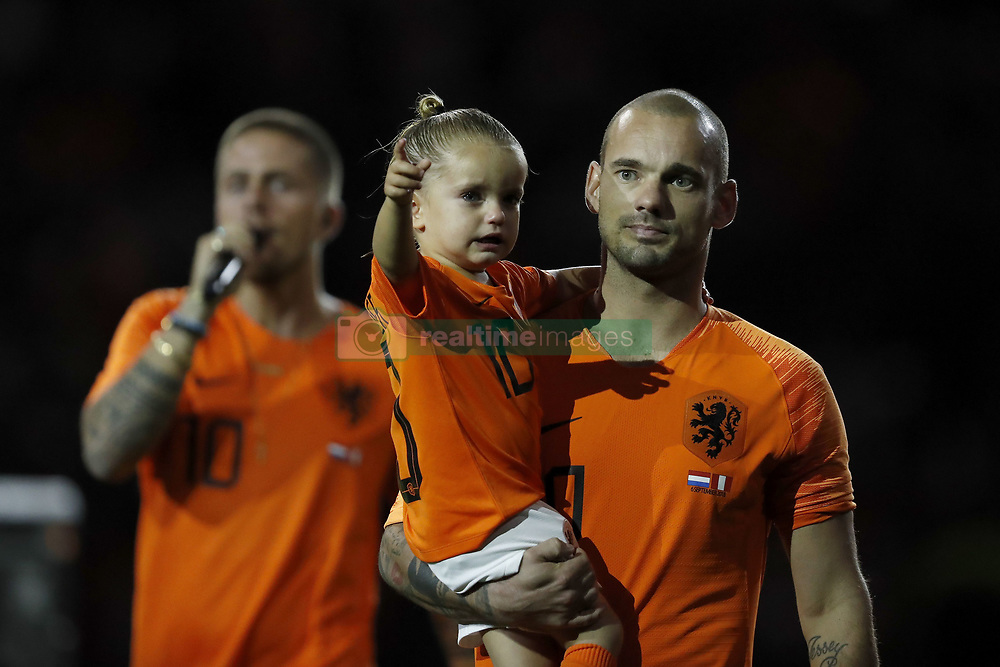 (L-R) Andre Hazes jr, , Xess Xava, Wesley Sneijder of Holland during the International friendly match match between The Netherlands and Peru at the Johan Cruijff Arena on September 06, 2018 in Amsterdam, The Netherlands