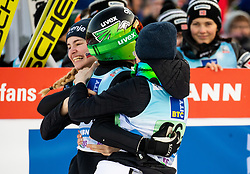 Nika Kriznar of Slovenia, Ursa Bogataj of Slovenia and Spela Rogelj of Slovenia celebrate after placed second during Team Competition at Day 2 of World Cup Ski Jumping Ladies Ljubno 2019, on February 9, 2019 in Ljubno ob Savinji, Slovenia. Photo by Matic Ritonja / Sportida