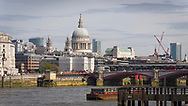 London, England - March 30, 2017: St Paul's Cathedral in London City Skyline.