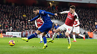 Football - 2018 / 2019 Premier League - Arsenal vs. Chelsea<br /> <br /> Eden Hazard (Chelsea FC)  drives his shot across the face of the Arsenal goal at The Emirates.<br /> <br /> COLORSPORT/DANIEL BEARHAM