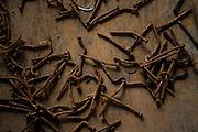 Jeceaba_MG, Brasil...Detalhe dos pregos em Jeceaba, Minas Gerais...Some nails in Jeceaba, Minas Gerais. ..Foto: BRUNO MAGALHAES /  NITRO