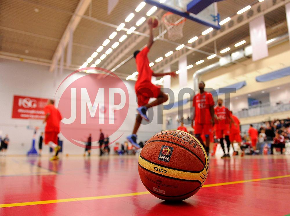 Players warm up  - Photo mandatory by-line: Joe Meredith/JMP - Mobile: 07966 386802 - 11/04/2015 - SPORT - Basketball - Bristol - SGS Wise Campus - Bristol Flyers v Glasgow Rocks - British Basketball League