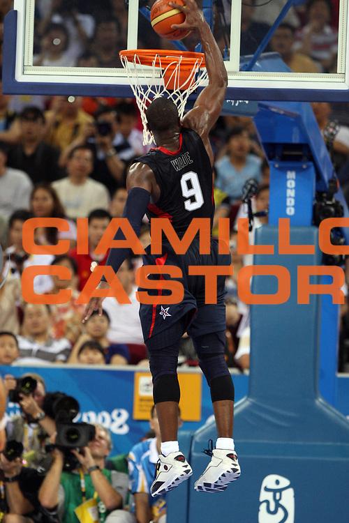 DESCRIZIONE : Beijing Pechino Olympic Games Olimpiadi 2008 Final Gold Medal 1-2 posto place Spain Usa <br /> GIOCATORE : Dwyane Wade <br /> SQUADRA : Usa <br /> EVENTO : Olympic Games Olimpiadi 2008 <br /> GARA : Spagna Usa <br /> DATA : 24/08/2008 <br /> CATEGORIA : Schiacciata <br /> SPORT : Pallacanestro <br /> AUTORE : Agenzia Ciamillo-Castoria/E.Castoria <br /> Galleria : Beijing Pechino Olympic Games Olimpiadi 2008 <br /> Fotonotizia : Beijing Pechino Olympic Games Olimpiadi 2008 Final Gold Medal 1-2 posto place Spain Usa <br /> Predefinita :