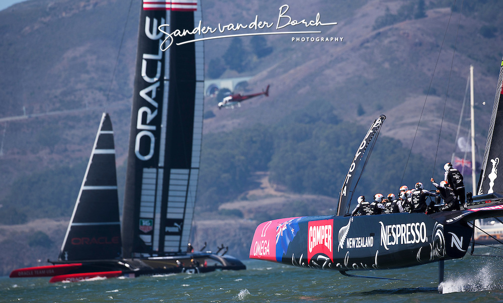 Oracle Team USA vs. Emirates Team New Zealand, Oracle Team USA wins race 17 and 18. Score is now 8-8, September 24th, San Francisco.