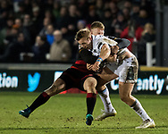 Glasgow Warriors' Brandon Thomson is tackled by Dragons' Jack Dixon<br /> <br /> Photographer Simon King/Replay Images<br /> <br /> Guinness PRO14 Round 14 - Dragons v Glasgow Warriors - Friday 9th February 2018 - Rodney Parade - Newport<br /> <br /> World Copyright © Replay Images . All rights reserved. info@replayimages.co.uk - http://replayimages.co.uk