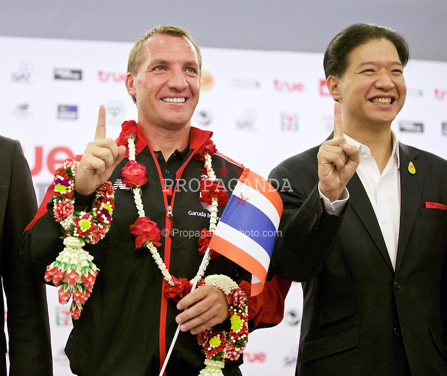 BANGKOK, THAILAND - Monday, July 13, 2015: Liverpool's manager Brendan Rodgers at Bangkok's Suvarnabhumi Airport as the team arrive in Thailand for the start of the club's preseason tour. (Pic by David Rawcliffe/Propaganda)