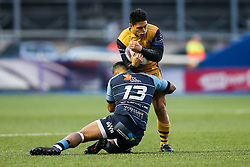 David Lemi of Bristol Rugby is tackled by Rey Lee-Lo of Cardiff Blues - Rogan Thomson/JMP - 21/01/2017 - RUGBY UNION - Cardiff Arms Park - Cardiff, Wales - Cardiff Blues v Bristol Rugby - EPCR Challenge Cup.