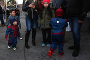 Oct. 25, 2013 - Bronx, NY. Two Spidermen chase each other before the 28th Annual South Bronx Halloween Parade in Hunts Point. 10/25/2013 Photo by Nicholas Wells / CUNY Photo Wire