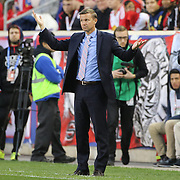 HARRISON, NEW JERSEY- November 06:  Head coach Jesse Marsch on the sideline during his sides loss during the New York Red Bulls Vs Montreal Impact MLS playoff match at Red Bull Arena, Harrison, New Jersey on November 06, 2016 in Harrison, New Jersey. (Photo by Tim Clayton/Corbis via Getty Images)