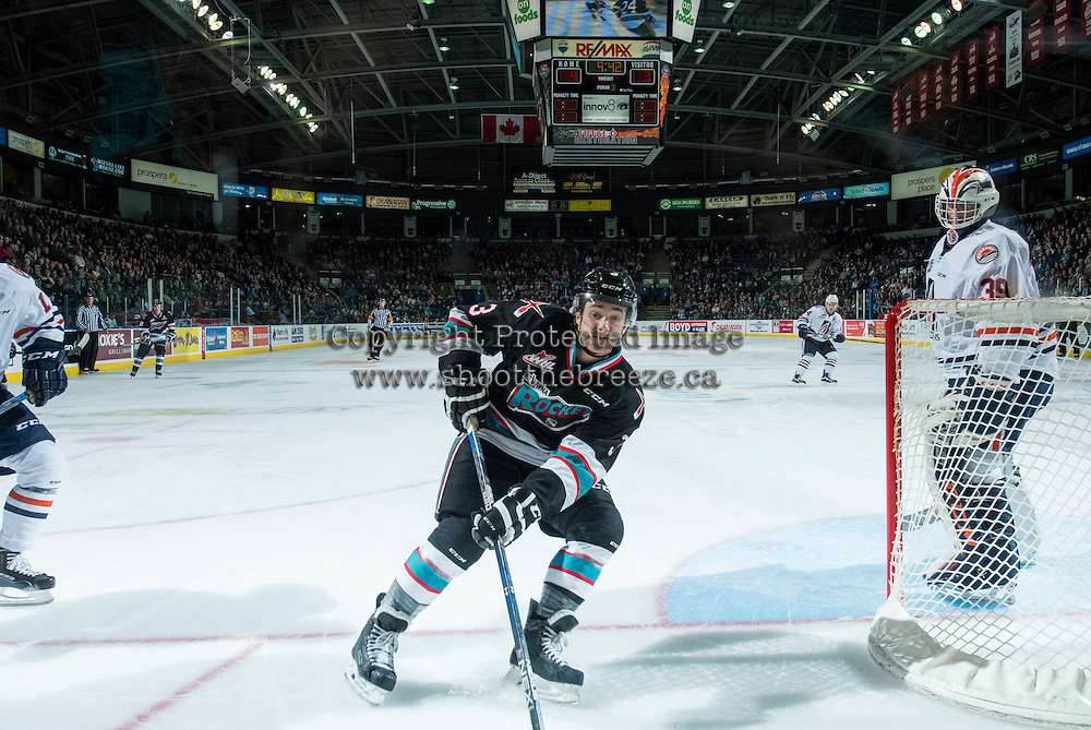 KELOWNA, CANADA - SEPTEMBER 25:  Riley Stadel #3 of Kelowna Rockets skates for the puck against the Kamloops Blazerson September 25, 2015 at Prospera Place in Kelowna, British Columbia, Canada.  (Photo by Marissa Baecker/Shoot the Breeze)  *** Local Caption *** Riley Stadel;