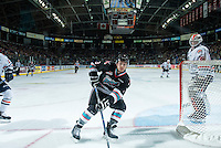 KELOWNA, CANADA - SEPTEMBER 25:  Riley Stadel #3 of Kelowna Rockets skates for the puck against the Kamloops Blazerson September 25, 2015 at Prospera Place in Kelowna, British Columbia, Canada.  (Photo by Marissa Baecker/Shoot the Breeze)  *** Local Caption *** Riley Stadel;