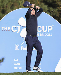October 20, 2018 - Jeju, SOUTH KOREA - Oct 20, 2018-Jeju, South Korea-JUSTIN THOMAS of USA reaction on the 4th tee during the PGA Golf CJ Cup Nine Bridges Round 3 at Nine Bridges Golf Club in Jeju, South Korea. (Credit Image: © Ryu Seung-Il/ZUMA Wire)