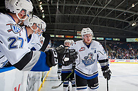 KELOWNA, BC - OCTOBER 04: Regan Nagy #24 of the Victoria Royals celebrates a goal against the Kelowna Rockets at Prospera Place on October 4, 2017 in Kelowna, Canada. (Photo by Marissa Baecker/Getty Images)