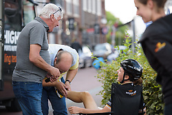 Audrey Cordon-Ragot laughs whilst getting a pre-race rub at Boels Rental Ladies Tour Stage 5 a 141.8 km road race from Stamproy to Vaals, Netherlands on September 2, 2017. (Photo by Sean Robinson/Velofocus)