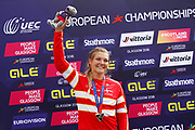 Podium BMX Finals women, Tetsche Simone Christensen (Denmark) silver medal during the Cycling European Championships Glasgow 2018, at Glasgow BMX Centre, in Glasgow, Great Britain, Day 9, on August 10, 2018 - Photo luca Bettini / BettiniPhoto / ProSportsImages / DPPI<br /> - Restriction / Netherlands out, Belgium out, Spain out, Italy out -
