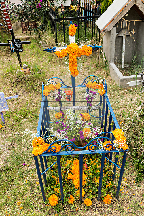 A decorated grave site in Our Lady of Guadalupe cemetery during the Dead of the Dead or Dia de Muertos festival in San Miguel de Allende, Mexico. The multi-day festival is to remember friends and family members who have died using calaveras, aztec marigolds, alfeniques, papel picado and the favorite foods and beverages of the departed.