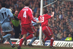 COVENTRY, ENGLAND - Saturday, April 6, 1996: Liverpool's Robbie Fowler is denied by Coventry City's goalkeeper Steve Ogrizovic during the Premiership match at Highfield Road. Coventry won 1-0. (Pic by David Rawcliffe/Propaganda)