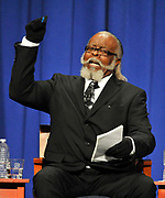 Jimmy McMillan, candidate for the Rent is 2 Damn High party makes a point during the 2010 New York State Gubernatorial debate held at Hoftstra University in Hempstead, N.Y. (AP Photo/Kathy Kmonicek)