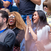 2019 US Open Tennis Tournament- Day Thirteen.    Meghan Markle, Duchess of Sussex next to Oracene Price, mother of Serena Williams in the the team box during the singing of America the Beautiful before the Serena Williams of the United States match against Bianca Andreescu of Canada in the Women's Singles Final on Arthur Ashe Stadium during the 2019 US Open Tennis Tournament at the USTA Billie Jean King National Tennis Center on September 7th, 2019 in Flushing, Queens, New York City.  (Photo by Tim Clayton/Corbis via Getty Images)
