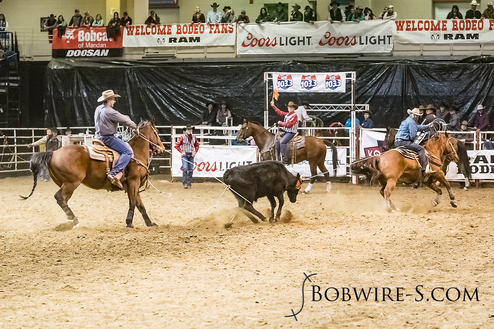 Scott White and Riley Wakefield compete in team roping at the Bismarck Rodeo on Friday, Feb. 2, 2018. They had a 6.0-second run.