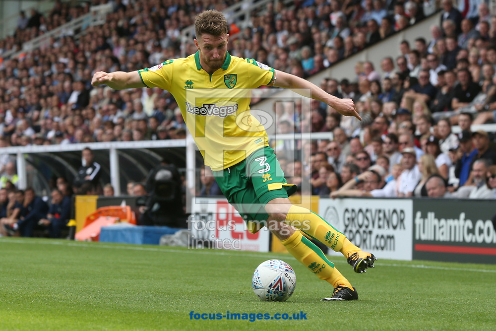 James Husband of Norwich in action during the Sky Bet Championship match at Craven Cottage, London<br /> Picture by Paul Chesterton/Focus Images Ltd +44 7904 640267<br /> 05/08/2017