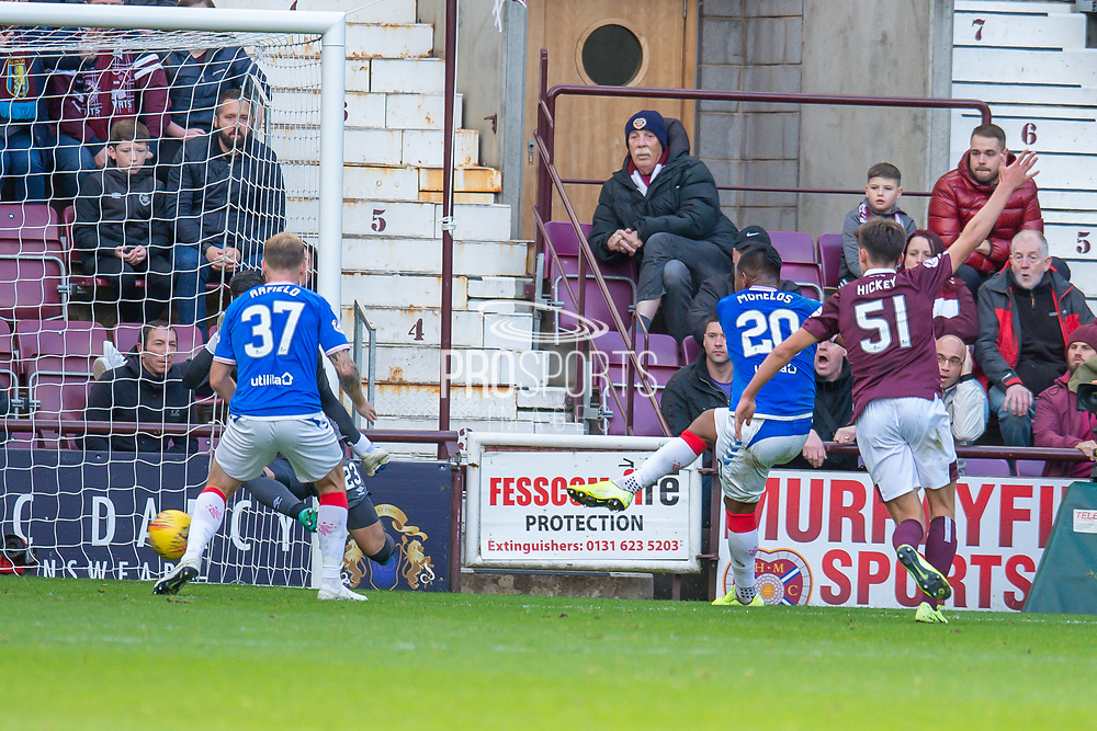 Alfredo Morelos (#20) of Rangers FC scores the equalising goal during the Ladbrokes Scottish Premiership match between Heart of Midlothian and Rangers FC at Tynecastle Park, Edinburgh, Scotland on 20 October 2019.